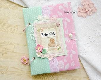 Baby Memory Book Girl Baby Album Personalized Baby Book Personalized Baby Gift  Scrapbook Handmade Album Baby Record Book Christening Album