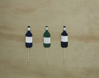 Wine Bottle Cupcake Toppers, Cardstock, Paper, Party Decor