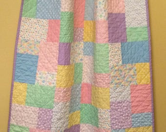 Baby Girl Quilt – Pink, Yellow, Blue, Green, Purple, White – Toddler Quilt – Pastel, Floral, Hearts, Stars - Handmade - Ready To Ship
