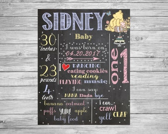First Birthday Chalkboard/1st Birthday Chalkboard/classic Winnie the pooh/vintage Winnie the pooh/Winnie the pooh theme/Printable Poster