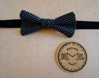 Bowtie child baby girl boy black mini polka dots adjustable to order
