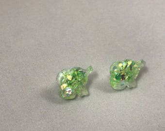 Green Glitter Elephant Stud Earrings