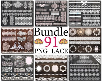 Lace BUNDLE 91 PNG Wedding Digital lace clipart Lace Border Clipart Wedding Clipart White Lace Overlay Lace for invitations lace art Doilies