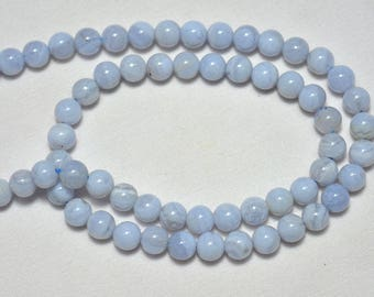 Blue Lace Agate Smooth Round Beads , Agate Smooth Round Beads, 6mm Beads, Gemstone For Jewelry 7.5 Inches Strand