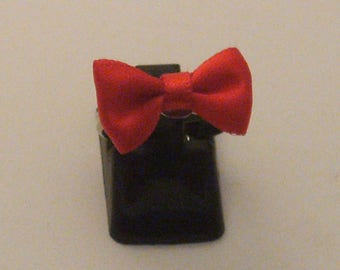 * CLEARANCE * ring silver Red Bow (ba76)