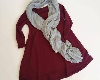 Ready to Ship MAROON Long sleeve swing dress- Size 2T