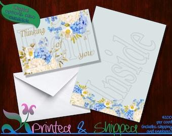 Blue & White Flowers Note Cards; Folded Card; Postcard; PDF; E-Card