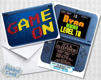Video Game 3DS Invitation; Gamer; Video Games; Handheld Game; Nintendo; Folded Card; Postcard; Printed; PDF; E-Card