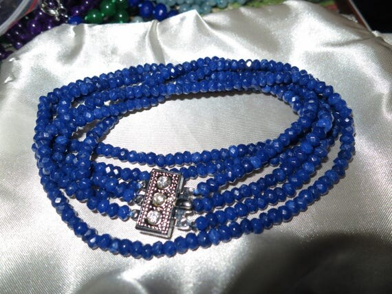 """Lovely 3 strand faceted 5mm natural blue sapphire necklace 19"""""""
