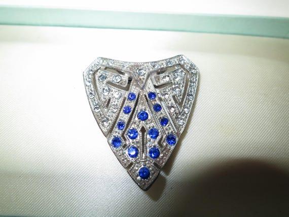 Beautiful vintage Deco metal blue rhinestone dress clip or brooch