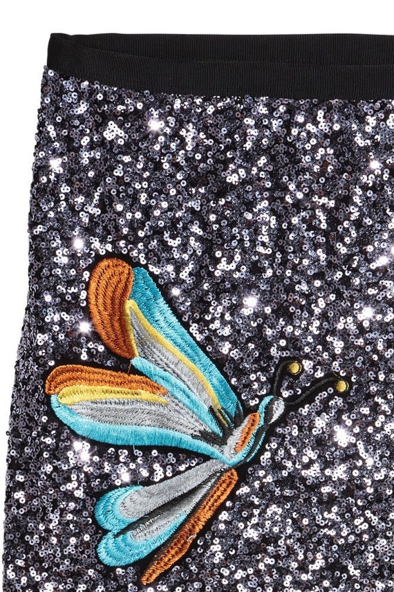 H&M sold out sequin skirt with dragonfly motif  XS size UK 6 US2, Aust XXS brand new with tags