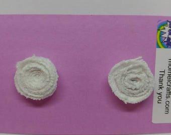 White Jean Rose Post Earrings