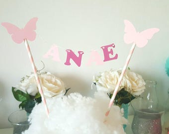 Decoration-Garland-name for cake - Butterfly theme