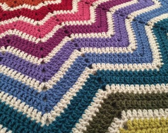 Crochet baby blanket, vintage rainbow, star shaped, pram size, buggy, stroller, car seat, chunky warm, made to order, new baby gift,