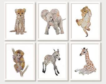 Safari Nursery Art Set of 6 Safari Animal Prints Zoo Animal Baby Animal Watercolor Nursery Decor Elephant Lion Zebra Cheetah Monkey Giraffe
