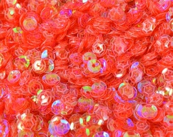 3/4/6mm Translucent Red Pink  Cup Glossy Iridescent Sequins Sheen Round Sequins/Loose Paillettes,Wholesale Sequins,Shimmering Sequin Apparel