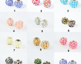 13x12mm Rhinestone Resin Beads with Big Hole, Round Ball Beads, for Macrame Bracelet, Basketball wives Earring 11 Colors set of 6 PCs