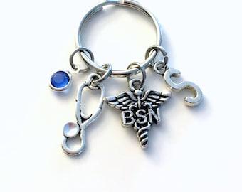 Personalized BSN Key Chain, Gift for BSN Nurse KeyChain Nursing Keyring Initial Birthstone Birthday Christmas present purse charm planner
