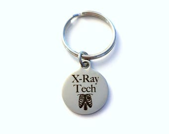 Gift for X-Ray Tech Keychain, Xray Technician Key Chain Radiologist Assistant Letter Initial Him Her Present men Women Radiographer Man ring