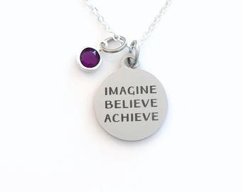 Imagine Believe Achieve Jewelry, Daughter Necklace, Gift for Graduation Present, Teen Girl Birthstone initial letter her Teenage retirement