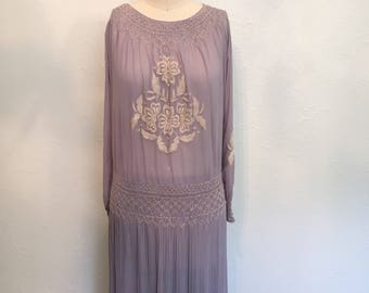 1920's blue chiffon embroidered dress / vintage 20's dress / 1920's dresses