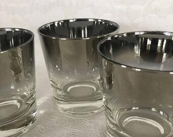 Dorothy Thorpe Silver Fade Barware Glasses Set of 3