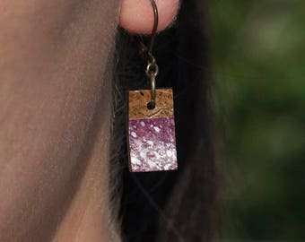 Violet coconut earrings