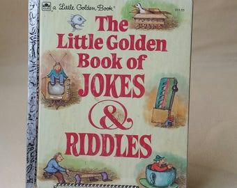 Book ~ The Little Golden Book ~ of Jokes & Riddles ~ a Little Golden Book ~ Knock, Knocks ~ What Has ~ Why Did ~ Seths Vintage Emporium