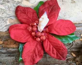 Red Poinsettia Christmas a accessorie, Festive Season Holiday clip, velvet Poinsettia Winter Coat pin, Christmas Jewelry