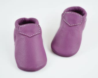 Baby Moccasins Light Purple Lilac Fringeless Loafers Newborn Boys Girls Toddlers Kids Genuine Leather Moccs Handmade Gift Prewalker Booties