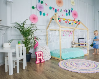 Children, FULL/Queen, house bed, frame bed, children furniture, nursery crib, baby bed, toddler bed kids teepee platform bed, gift HEABOARD