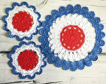 Red White and Blue Doily USA Crochet Doilies Patriotic Decorations Americana Home Décor Memorial Day Décor American Flag Independence Day