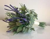 Brides Lavender, herb & Gyp bouquet