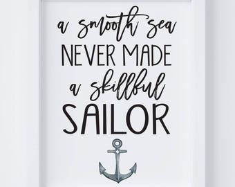 Skillful Sailer Nautical Digital Print | Nursery Wall Art | Nautical Wall Art | Sailor Nursery