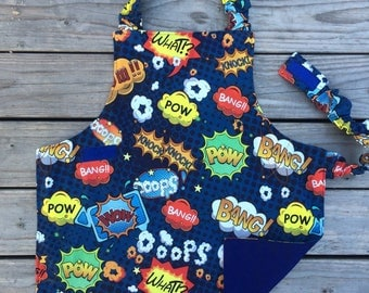 Comics Montessori Children apron, child apron, Montessori materials, Montessori baby apron, practical life, Toddler apron, cool Kids apron