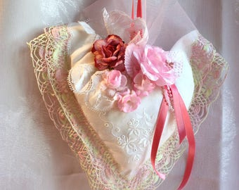 Heart shabby chic hanging heart, lace handmade beads + flowers, gift, hand embroidery