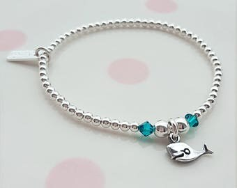 Sterling Silver Whale Bracelet, Silver Whale Bracelet, Silver Bead Bracelet, Bead Bracelet, Silver Whale, Whale Charm, Gift For Her