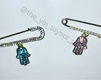 Custom stroller pins. Onsie pin. Hamsa pin. Evil eye pin.