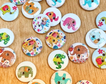 15mm 2 hole Cute Elephant buttons, cute buttons, sewing, scrapbook, crafts, 10 or 20 pack