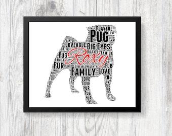 Personalised PUG Word Art Print Gift Keepsake Pedigree All Breeds Available Perfect for Birthdays Christmas Etc CRUFTS