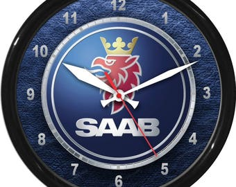 "12"" Saab Wall Clock Garage Work Shop Gift Father's Day Man Cave Rec Room"