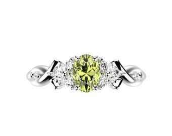 White Gold Peridot Engagement Ring Gold Peridot Ring White Gold Engagement Ring 14k Peridot Engagement Ring Peridot Ring