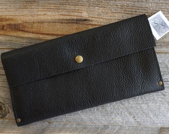 Black Motorcycle Leather Clutch Purse,  Leather Evening Bag, Leather Purse, Leather Clutch, Everyday Clutch