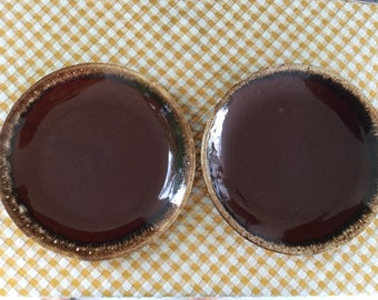 2 Hull Dinner Plates, Brown Drip Ovenproof, made in USA