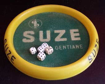 Old board game dice advertising Suze appetizer decor Bistro bar