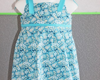 Dress 2/3 years girl turquoise blue floral pattern in cotton, lined bustier.