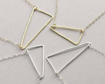 Wire Triangle Necklace / Sterling Silver, Gold Filled / Dainty Bridesmaid Necklace / Triangle Necklace