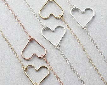 Delicate Open Heart Necklace - Sterling Silver, Gold Filled, Rosegold filled Neacklace, Dainty Bridesmaid Necklace