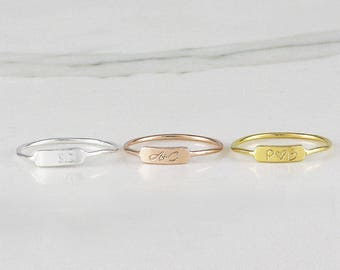 Tiny Personalized Bar Rings, Custom Initial Bar Ring, Dainty Roman numeral Bar ring, Name Bar Ring, Band ring (HCR OD 9X3 R)