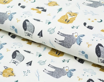 Jersey forest fox moose white organic cotton
